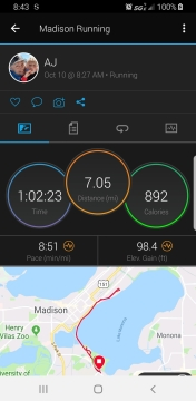 Picture of Garmin App showing 7 mile run and time of 8:51